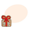 christmas present gift box gingerbread cookie vector image