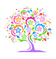 colorful tree with stars vector image