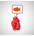 concept healthy heart fish fresh icon vector image