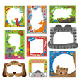 cute happy birthday pets photo frame vector image