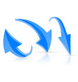 down and up 3d arrow blue signs with reflection vector image vector image