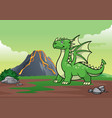 dragon and volcano mountain vector image
