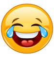 emoticon with tears joy vector image vector image