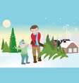 father and son carrying a christmas tree vector image vector image