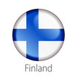 finland round button flag vector image