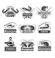 fishing club badges or labels design template with vector image