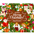 greeting card with merry christmas wish and gifts vector image vector image