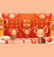 group rat or mouse and happy new year chinese vector image vector image