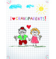 kids pencil hand drawn greeting card with grandpa vector image vector image