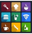 kitchen flat icons set 23 vector image vector image