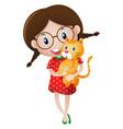 little girl holding ginger cat vector image