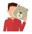 Man with Bear Mask Flat Design vector image vector image