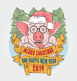 merry christmas and happy new year mr piggy vector image vector image
