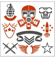 Military symbols with weapon and people uniform vector image vector image