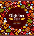 oktoberfest party flat color banner vector image vector image