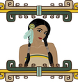 Portrait of beautiful Native American Indian girl vector image vector image