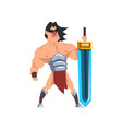 powerful hero with luminous sword fantasy vector image vector image