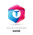 realistic letter t in colorful hexagonal vector image vector image