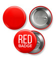red badge mockup pin brooch red button vector image vector image