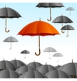 Red Umbrella on Black Fly High vector image