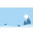Reindeer on the hill Christmas landscape vector image vector image