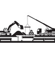 replacement of underground pipelines vector image vector image