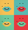 Retro pop art colorful concept with girl face vector image