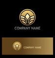 round golden leaf organic logo vector image vector image