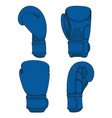set of with blue boxing gloves vector image vector image
