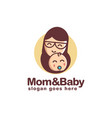 simple happy mother and child logo vector image