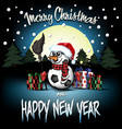 snowman from soccer balls with broom and sparklers vector image