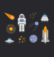 space exploration flat icons set vector image