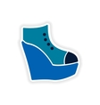 stylish paper sticker on white background shoes vector image vector image