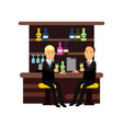 two man best friends in formal suits sitting at vector image