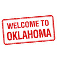 welcome to oklahoma red grunge square stamp vector image vector image