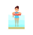young girl swimming in the sea with inflatable vector image vector image
