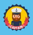 portrait captain or sailor boat nautical badge vector image