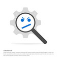 angry face smile icon search glass with gear vector image
