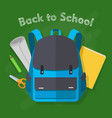 back to school blue backpack office supplies vector image vector image