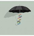 black umbrella with colorful ribbon vector image