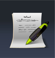 Blank note paper with green pen contract vector | Price: 3 Credits (USD $3)