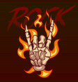 bony hand and the inscription rock on fire vector image vector image