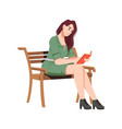 brunette woman on wooden bench reads book outdoors vector image