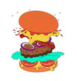 burger with flying ingredients vector image