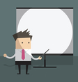 businessman with projector screen vector image vector image