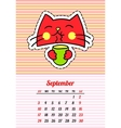 Calendar 2017 with cats September In cartoon 80s vector image vector image