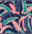 Cartoon palm leaves seamless dark blue background