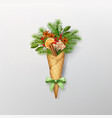 christmas composition in a waffle cone vector image