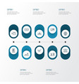 city icons line style set with vending machine vector image