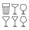 drink glass icon set vector image vector image